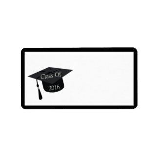 Clase del casquillo 2016 de la graduación etiquetas de dirección