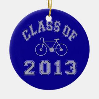 Clase del ciclista 2013 adorno navideño redondo de cerámica
