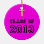 Clase del cristiano 2013 cruzado - negro 1 ornamento para arbol de navidad