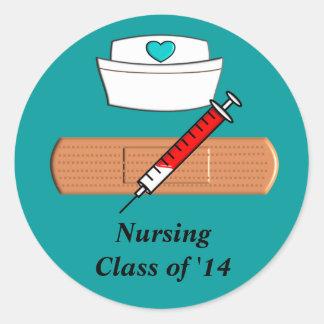 Clase del estudiante del oficio de enfermera de pegatina redonda