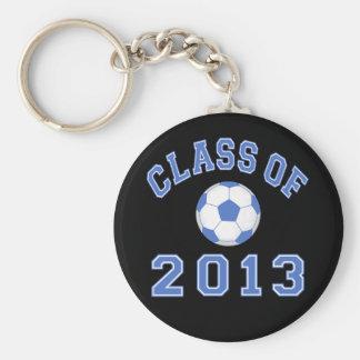 Clase del fútbol 2013 azul/blanco 2 llavero personalizado