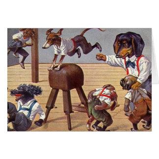 Clase del gimnasio para los perros tarjeta