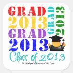 Clase del graduado de 2013 pegatina cuadrada