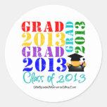 Clase del graduado de 2013 pegatina redonda