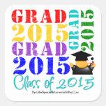 Clase del graduado de 2015 calcomanias cuadradas