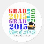 Clase del graduado de 2015 etiquetas redondas