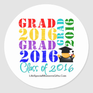Clase del graduado de 2016 pegatina redonda