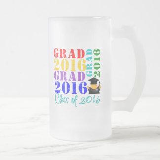 Clase del graduado de 2016 taza de cristal