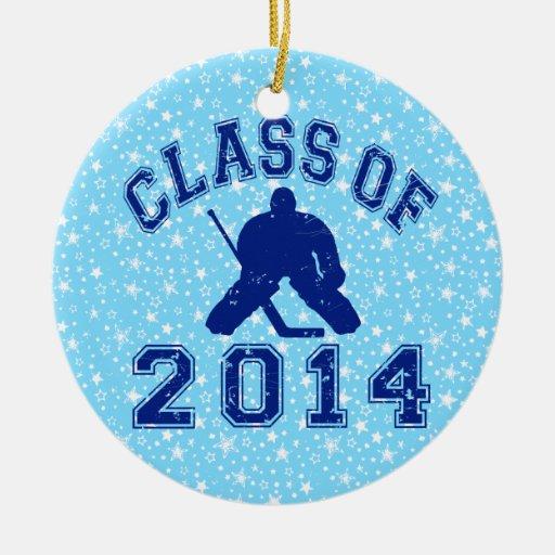 Clase del hockey 2014 adorno redondo de cerámica