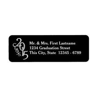 Clase del negro de plata 2015 de la graduación etiqueta de remitente