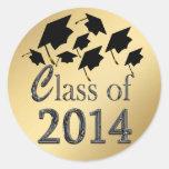 Clase del oro de los gorras de la graduación del v etiqueta redonda