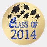 Clase del oro de los gorras de la graduación del v pegatinas redondas