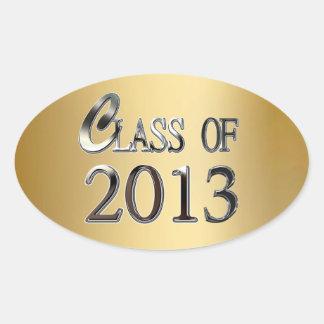 Clase del oro de los pegatinas 2013 del sello de calcomanías ovaladas personalizadas