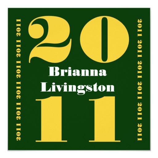 """Clase del oro verde 2011 de la graduación invitación 5.25"""" x 5.25"""""""