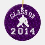 Clase del portero 2014 del hockey adorno redondo de cerámica