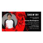 Clase del rojo 2011 de la tarjeta de la foto de la tarjeta fotografica personalizada