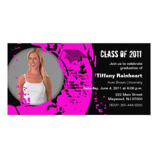 Clase del rosa 2011 del neón de la tarjeta de la tarjeta fotografica