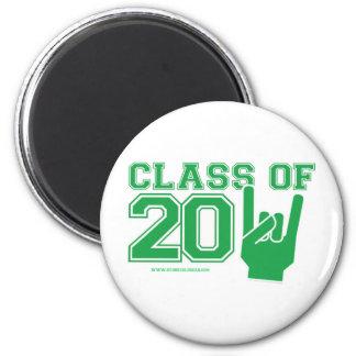 Clase del verde 2011 y de blanco de la graduación imán redondo 5 cm