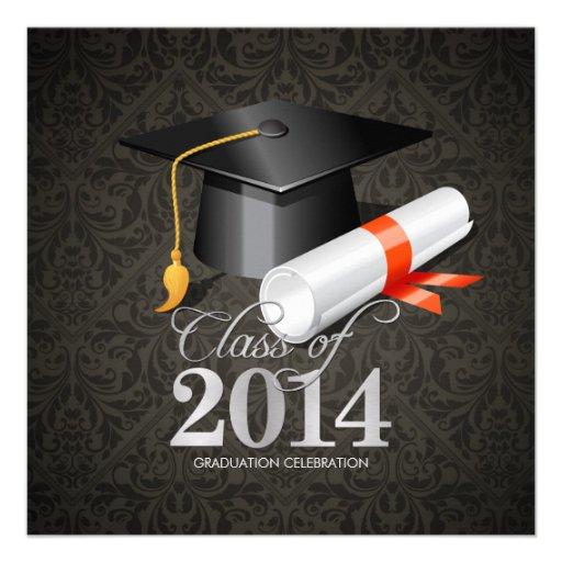 Clase elegante del damasco de la celebración 2014 comunicados personalizados