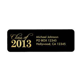 Clase elegante del negro y del oro de 2013 etiqueta de remite