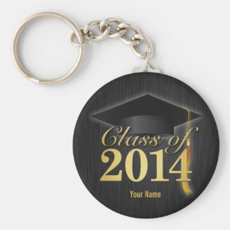 Clase elegante del negro y del oro de la graduació llaveros