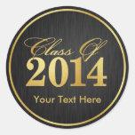 """Clase elegante del """"oro"""" de la graduación 2014 etiqueta redonda"""