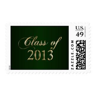 Clase elegante del verde y del oro del sello 2013
