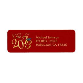 Clase enrrollada del rojo y del oro de 2013 etiquetas de remite