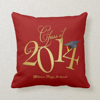Clase enrrollada del rojo y del oro de 2014 almohadas