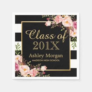 Clase floral de las rayas de la graduación 2016 servilleta de papel
