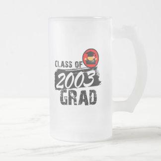 Clase fresca del graduado 2003 taza de cristal