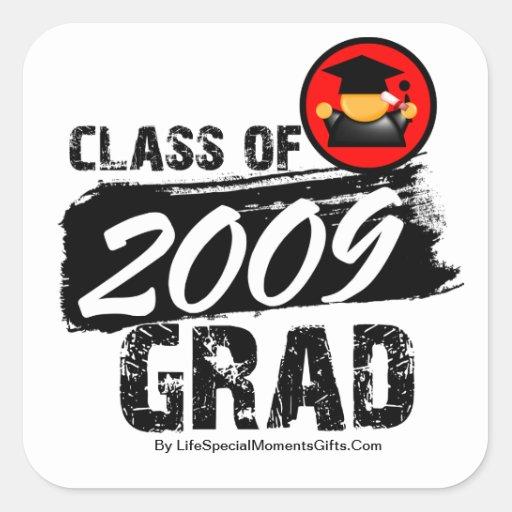 Clase fresca del graduado 2009 pegatina cuadrada