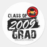 Clase fresca del graduado 2009 pegatina redonda