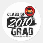 Clase fresca del graduado 2010 etiquetas redondas