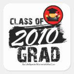 Clase fresca del graduado 2010 calcomanías cuadradass
