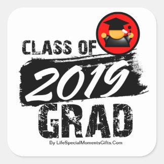 Clase fresca del graduado 2019 pegatina cuadrada