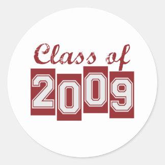Clase graduada de 2009 pegatina redonda
