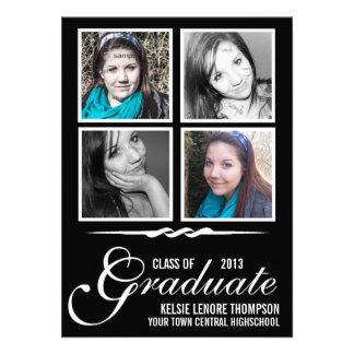 Clase graduada de 2013 cuadrados de la foto del pa invitación personalizada