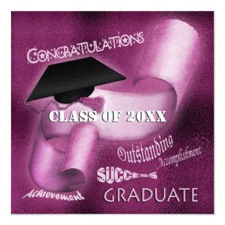 """Clase graduada de la graduación de elegante invitación 5.25"""" x 5.25"""""""