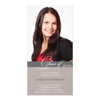 Clase gris de la escritura de invitación de la gra tarjeta fotográfica personalizada