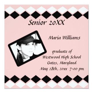 """Clase mayor de graduado del diamante rosado y invitación 5.25"""" x 5.25"""""""