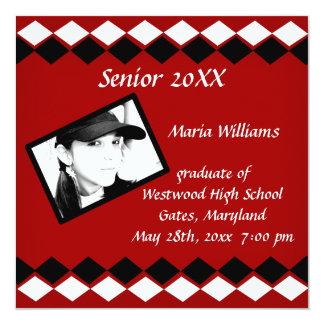 """Clase mayor de graduado rojo y blanco de 20xx del invitación 5.25"""" x 5.25"""""""
