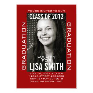 Clase moderna blanca roja de invitación de 2012