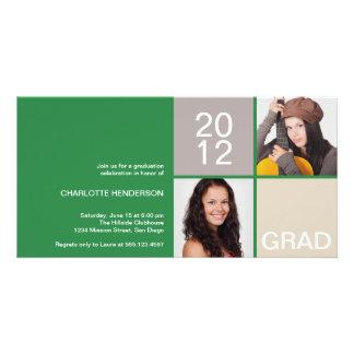 Clase moderna verde del bloque de invitación del g tarjetas fotográficas personalizadas