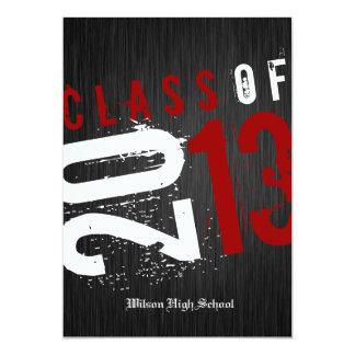 """Clase negra, blanca y roja artística de 2013 invitación 5"""" x 7"""""""