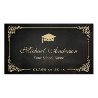 Clase negra elegante del oro de estudiante de tarjetas de visita