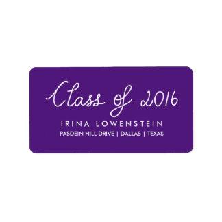 Clase púrpura de la graduación 2016 de la etiqueta de dirección