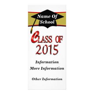 Clase roja de 2015 tarjetas del estante plantilla de lona