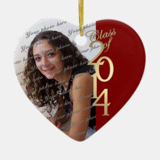 Clase roja de la graduación de 2014 adorno de cerámica en forma de corazón