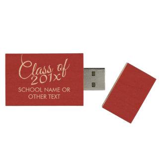 Clase roja de la graduación de año y de texto de pen drive de madera USB 2.0